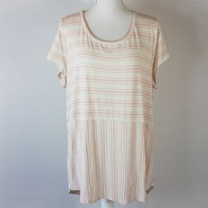 Chico's Soft Pink and Cream Tunic Top Size 3